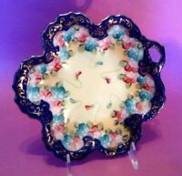Scalloped Bowl - Cobalt Blue And Gold Border With Pink And Blue Violets - Japan