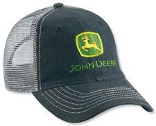 NEW John Deere Black Unstructured Twill Cap Gray Mesh Back LP49310
