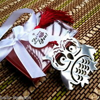 5PC Stainless Steel Owl Bookmark Silver Tone Present Gift