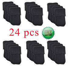 BCP 24pcs Wool  Furniture Socks Chair Leg Covers Floor Protector Booties Black