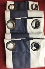 Pottery Barn Sunbrella Set of 3 Awning Stripe grommet outdoor drapes 50x84 NEW!