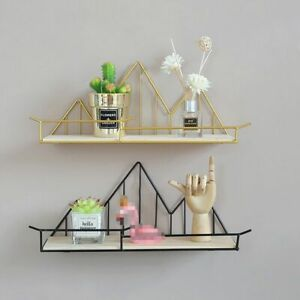 Nordic Style Iron Wood Storage Floating Shelves Living Room Wall Decorations