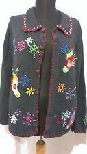 Women's Christmas Cardigan Sweater Size L by Lemon Grass Studio Long Sleeve Ugly
