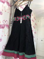 New £45 M&S Per Una Black Empire Line Midi Dress 14 Summer Occasion