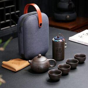 Purple Clay Kung Fu Teaset Chinese Ceramic Teapot 4 Cups Portable Travel Tea Set