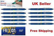 Pilot FriXion 0.7mm erasable roller x 10 ball pen BLUE INK retractable UK Seller