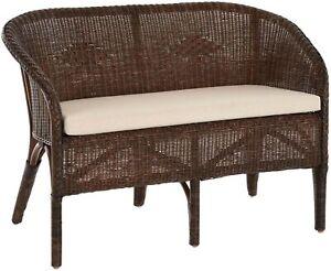 Rattan 2-Sitzer Sitzbank 2er Bank mit Armlehne Küchenbank Braun mit Kissen