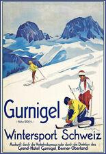 A3 Travel Art Poster GURNIGEL  Ski Skiing Wintersport  print