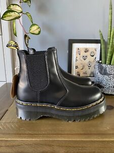 Dr Martens 2976 Quad Black leather platform Chelsea boots size 7 41 Chunky NEW
