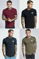 SikSilk Mens Short Sleeve Crew Neck Gym T-Shirt Black Navy Khaki Burgundy White