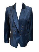 White House Black Market Women's Blue Velvet Blazer Size 12
