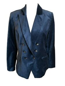 White House Black Market Women's Blue Velvet Blazer Size 12