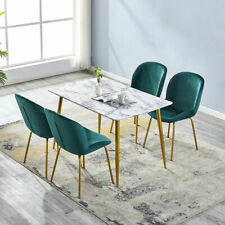 Rectangle Dining Table Set and 4 Velvet Blue/Green Fabric Dining Chair Home