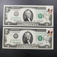 2 consecutive Note Postal 1976 $2 Bicentennial Bill Green Seal FRN H BLOCK NICE