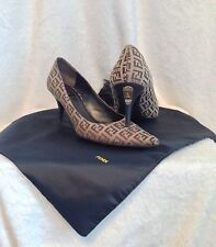 FENDI Tan Monogram Canvas Shoes Pumps Heels, Size 38.5, 8.5