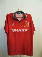 SIGNED Manchester United 1994/1995 Home Sz M Umbro shirt jersey football soccer