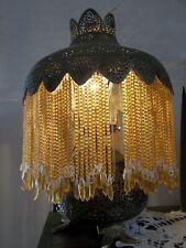 Pierced Brass Mid-East  Amber Glass Bead Lamp