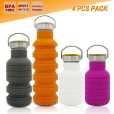 4 PCS OUTDOOR SPORT COLLAPSIBLE WATER BOTTLE CAMPING HIKING TRAINING GYM KETTLE
