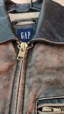 GAP Distressed LEATHER BIKER STYLE JACKET SIZE XS/S, 38, SlIM FIT