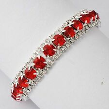 Vintage Womens white Gold Filled Clean Rhinestone Red Ruby Tennis Bracelet