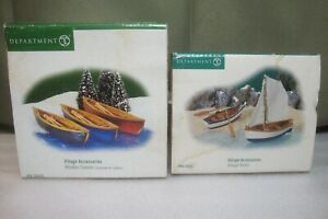 2 DEPT 56 VILLAGE ACCESSORIES WOODEN CANOES AND VILLAGE BOATS 52830 / 53043