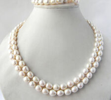 2Strands 17-18'' 9-10MM Teardrop White Freshwater Pearl Bracelet Necklace Set