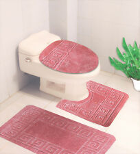 BATHROOM SET EMBOSSED BATH MAT COUNTOUR RUG TOILET LID COVER 3PC #10 PALE PINK