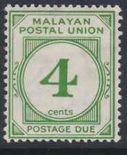 Malaysia 1936 postage due 4c green MINT D2