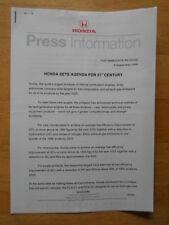 HONDA AGENDA FOR THE 21ST CENTURY orig 1999 UK Mkt Press Release - Brochure