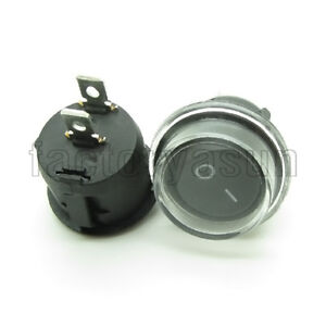 "5PCS Round Rocker Switch Black 2 Pin SPST ON-OF 20mm 0.79"" 12V + Waterproof Coat"