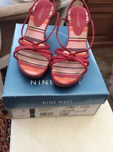 Nine West Womens Red Leather Wedge Heel Open Summer Sandals Size 6