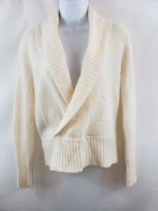 Ideology Women's Wrap Sweater Size Small Cream Cozy Shawl Collar Angora Wool