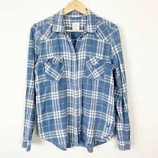 American Eagle Women's Vintage Boyfriend Plaid Shirt Blue White Distressed M