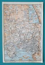 "NORWAY Oslo & Environs Kristiania - 1912 Baedeker Map 4"" x 6"" (10 x 15 cm)"