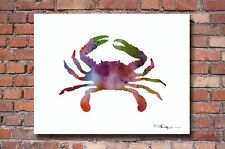 Crab Abstract Watercolor Painting Art Print by Artist DJ Rogers