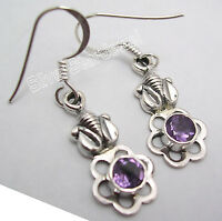 """Amazing PURPLE AMETHYST ELEPHANT Earrings 1.4"""" ! 925 Sterling Silver Jewelry"""