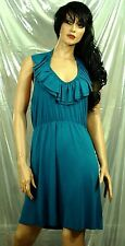 Buffalo Women's Teal Blue Ruffle Neck Backless Viscose/Spandex Knit Dress  sz L