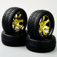 RC 4X Rubber Run flat Tyre&12mm Hex Wheel Rim D6NKG For HSP HPI 1:10 On-Road Car
