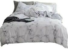Dalin Queen Duvet Cover + 2 Pillowcases In White Marble