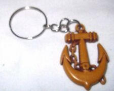 """1""""-1 1/2"""" WOODEN ANCHOR AND CHAIN KEYCHAIN-WOODEN ANCHOR KEY CHAIN-NEW!"""