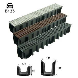 B125 Entwässerungsrinne 12,5t 1-10m Bodenrinne Tiefe 98-148 schwarz braun grau