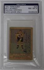 MILT SCHMIDT SIGNED 1951 PARKHURST HOCKEY CARD PSA/DNA AUTHENTICATED ROOKIE CARD