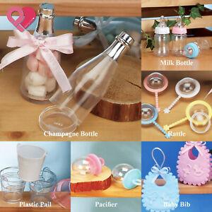 48-120 Plastic Baby Shower Birthday Party Favor Candy Gift Box Bag Baptism Bulk