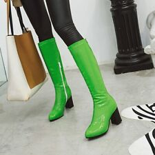 Ladies Block Heel Knee High Boots Patent Leather Riding Boots Side Zip Shoes Sz