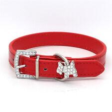 Croc Leather Dog Collar Rhinestones Buckle Pet Crystals Diamante Bling Diamonds