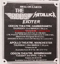 METALLICA RODS EXCITER 1984 Tour UK mini Press ADVERT 4x3 inches
