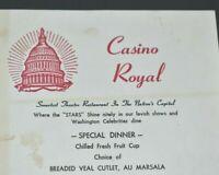 Casino Royal Paper Menu Theatre Restaurant in Nation's Capital Washington DC