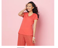 Isaac Mizrahi Live! Essentials Scoop Neck Top w/ Side Insets, Sunset Coral 1X