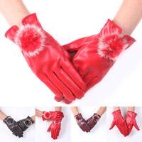 1Pair Women Winter Gloves Mittens Warm PU Leather Rabbit Fur Balls Female Gloves