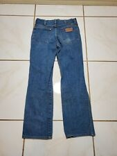 Vintage Wrangler Slim Bootcut Denim Blue Jean Pants Made In USA 30x27*Hemmed F63
